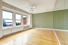 empty apartment interior in old residential building with bay view. downtown, - stock photo
