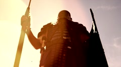 Gladiator warriors fighting against each other. Shot in slow motion on red Epic. Stock Footage