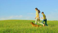 Two happy kids and dog running in the field, cheerful, love, panning - stock footage