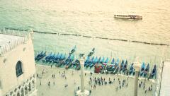Venice Aerial San Marco Gondola Pier Gondolas People Stock Footage