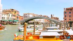 VENICE, ITALY - CIRCA 2014: Boat Traffic Under Bridge Tourism Holiday Concept Stock Footage