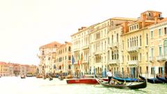 VENICE, ITALY - CIRCA 2014: Boats with tourists sail through Grand Canal. Stock Footage