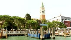 VENICE, ITALY - CIRCA 2014: View from water toward San Marco Pier. - stock footage