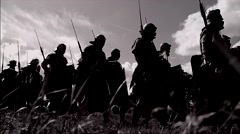 troop of historical gladiators marching together. shot on Red Epic - stock footage