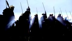 Stock Video Footage of warrior troops walking background. historic war gladiators army