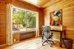 office room with solid wood planks - stock photo
