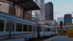 Pittsburgh Subway Arrives at First Avenue Station Stock Footage
