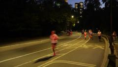TIME LAPSE CENTRAL PARK JOGGERS CARRIAGES NIGHT-Apple ProRes 422 Stock Footage