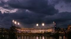 PNC Park on Pittsburgh's North Shore Establishing Shot Night - stock footage