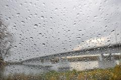 Texture water drops glass rain Stock Photos