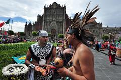 aztec folklore in zocalo square, mexico city - stock photo