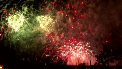 Fireworks display with truck passing by Stock Footage
