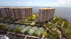 Aerial Grove Isle hotel Stock Footage