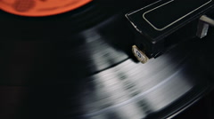 Vinyl Turntable Plays Record With Orange Round Sticker Stock Footage