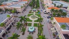 Aerial Misner Park promenade shops 3 Stock Footage