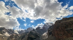 Mountains with glaciers. Panorama. TimeLapse. Pamir, Tajikistan Stock Footage