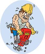 Construction worker jackhammer drilling cartoon Stock Illustration