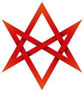 Red Unicursal Hexagram 3D Stock Illustration