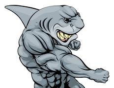 punching shark mascot - stock illustration