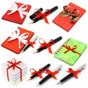 set of stationery with bow . - stock photo