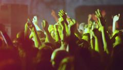 concert people crowd fans hands in the air clapping applauding 010 - stock footage