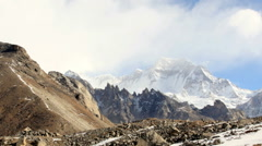 Movement of the clouds on the mountains Gyazumba Glacier, Himalayas, Nepal. Stock Footage