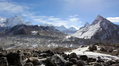 Movement of the clouds on the mountains Everest, Gyazumba Glacier, Himalayas Stock Footage