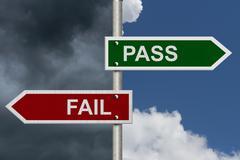 Pass versus fail Stock Illustration