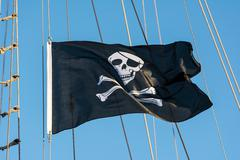 Black Pirate Flag Stock Photos