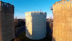 Water towers ascending Stock Footage