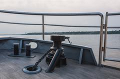 Bollard chain deck ship Stock Photos