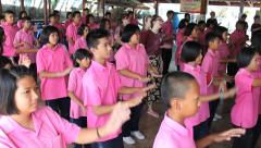 Youth Missions Team Teaching New Dance To Asian Kids Stock Footage
