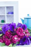 bunch of  violet and mauve  eustoma flowers - stock photo