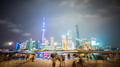 4k resolution Shanghai skyline night time lapse Stock Footage