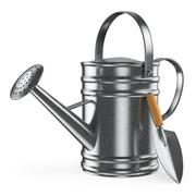 3d watering can and spade - stock illustration