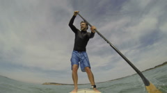 SUP stand up paddle boarding HD Stock Footage