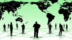 People - global connection social business network - design green - stock footage