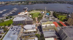Aerial Downtown WBP Waterfront commons 2 Stock Footage