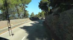 POV Front of Bus on Mountain road with sea view - stock footage
