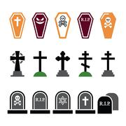 Halloween, graveyard colorful icons set - coffin, cross, grave - stock illustration