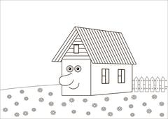 The house with a human face, contours Stock Illustration