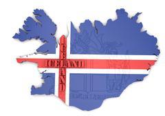 Map illustration of iceland with flag Stock Illustration