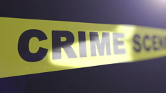 Crime scene tape. Matte channel included. Shallow Depth of field. Stock Footage