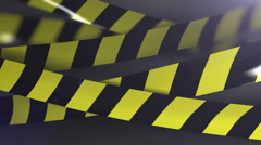 Under construction Caution tape. Shallow Depth of field. Matte channel included. - stock footage