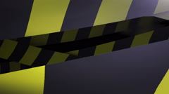 Under construction Yellow and Black Caution tape.  Loopable. Matte included. - stock footage