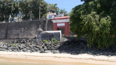 Old San Juan Sea Gate and colonial city stone walls fortification Stock Footage
