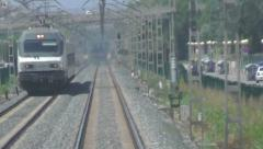 POV Train Drivers view of oncoming express Stock Footage
