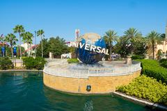 the famous globe at the universal theme parks in florida - stock photo