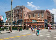 shops and restaurants at universal studios florida - stock photo