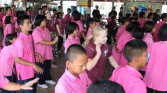 Youth Missions Team Teaching New Dance To School Kids Stock Footage